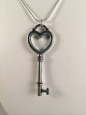 New Love Heart Shaped Skeleton Key, Silver Chain Gift Necklace Womens Valentines
