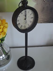 "* Deko Standuhr Shabby Shick Vintage Used Look ""rost "" 48cm London **"