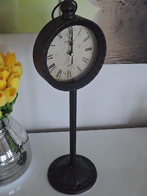 """Uhren & Schmuck Treu Tisch-, Kamin- & Reiseuhren Deko Standuhr Shabby Shick Vintage Used Look """"rost """" 48cm London ** Um 50 Prozent Reduziert"""