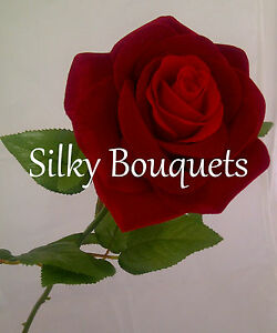 Artificial Silk Flower Luxury Large Red Rose Valentines Day Gift