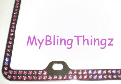 Embedded PINK Crystal BLING Rhinestone License Plate Frame w// Swarovski Elements
