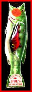 Vintage-1987-POE-039-S-SUPER-CEDAR-Red-Black-3-5-inch-Crawdad-Fishing-Lure-231