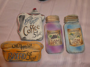 VTG-WOOD-4-KITCHEN-THEME-PLAQUES-COUNTRY-DECOR-HAND-CRAFTED-SIGNS-NWT