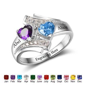 2f5f9c3df3f56 Details about Personalized Couples Promise Names Ring Birthstones Rings  Gift for Girlfriend