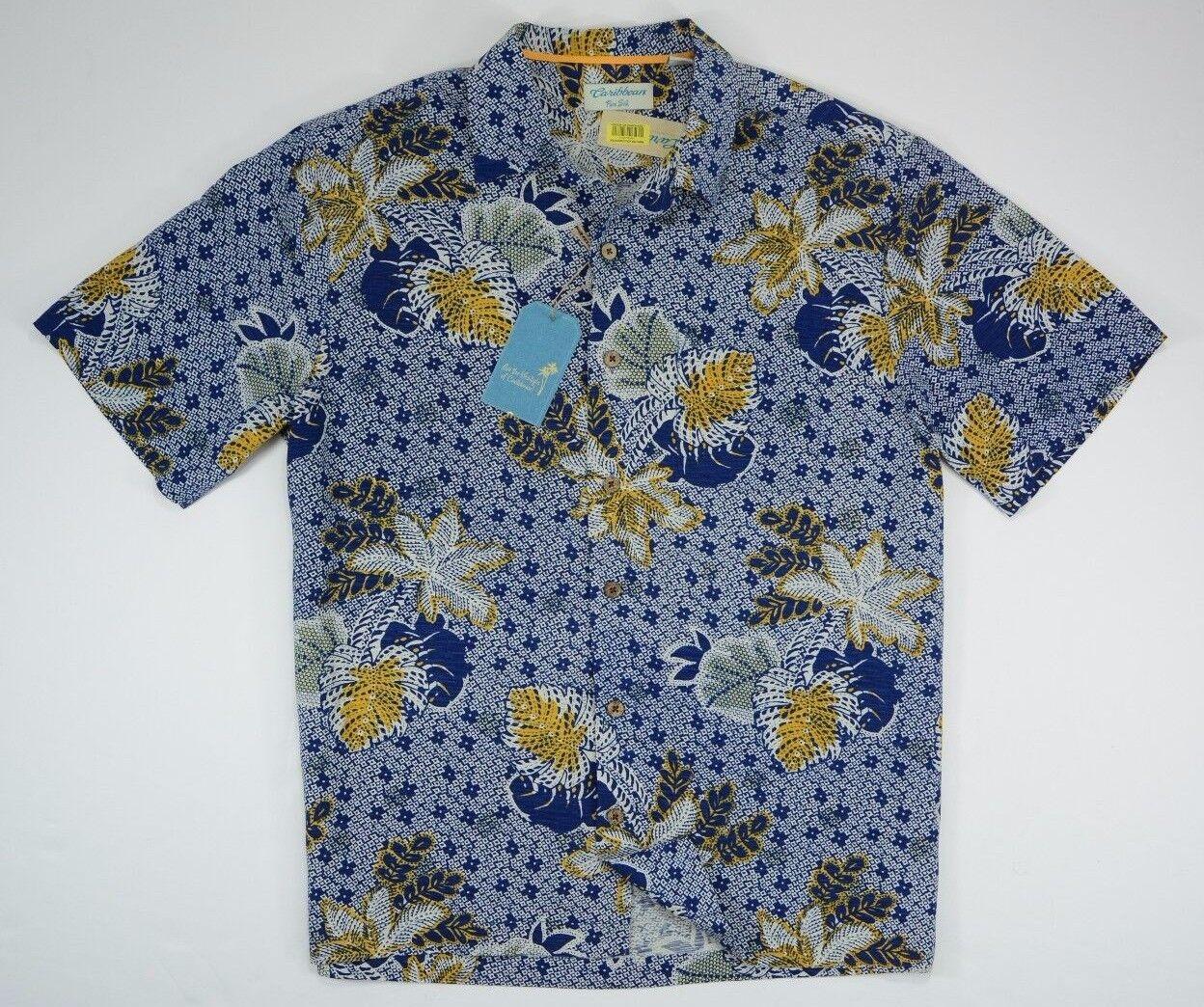 Men's Caribbean size Large L Short Sleeve Button Up 100% Silk Hawaiian Shirt NEW