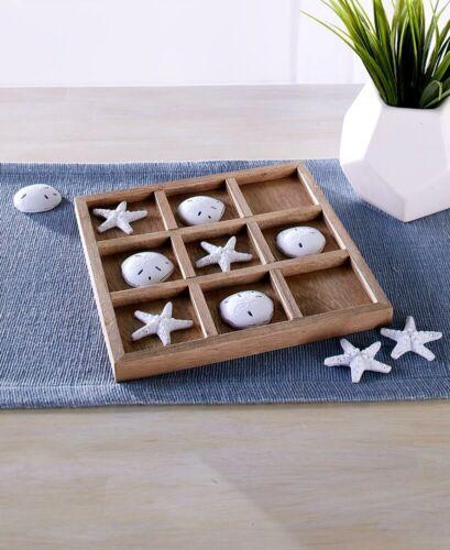 Coastal Beach Tic Tac Toe Board Game Set Starfish /& Sand Dollars Gift Home Decor