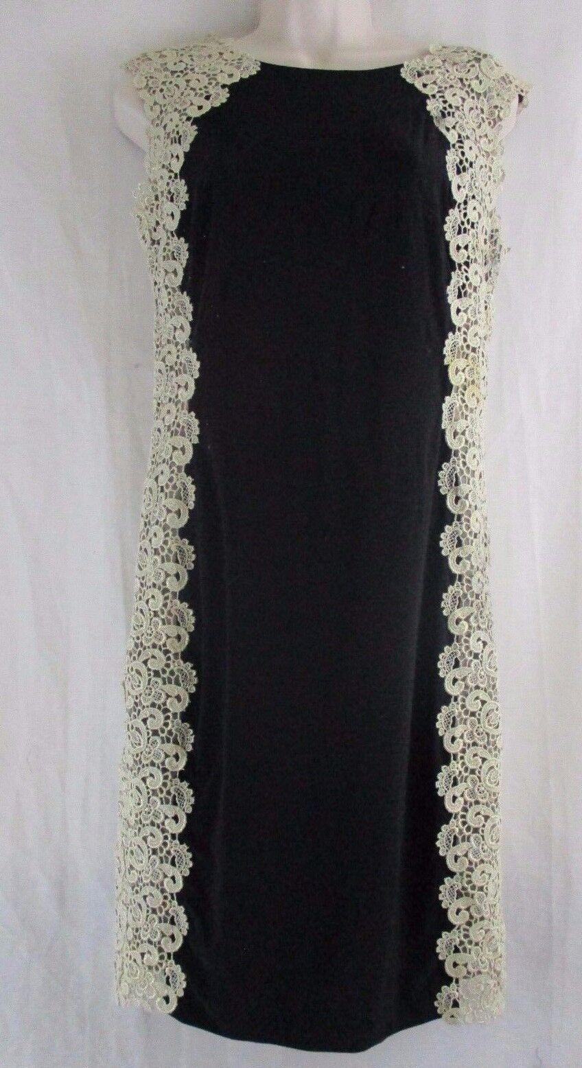 XSCAPE  schwarz Gold Midi Bodycon Lace Crochet Side Detail Dress  Größe 8   A6