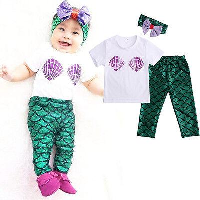 Newborn Baby Girl Clothes Shell Tops T-shirt+Mermaid Leggings Outfits Set 0-24M