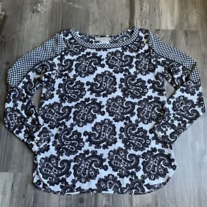 Ann-Taylor-Loft-Small-Top-White-Gray-Paisley-Print-Long-Sleeve-Blouse-Womens