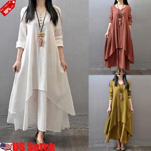 Women-Boho-Cotton-Linen-Tunic-Long-Sleeve-Maxi-Dress-Gypsy-Casual-Shirt-Kaftan