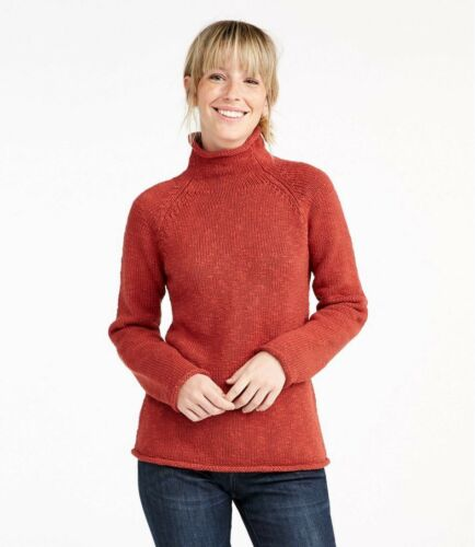 Cottage Medium Coral Euc Ll Funnelneck Cotton In Bean Sz Sweater Pullover 1SS5fqA