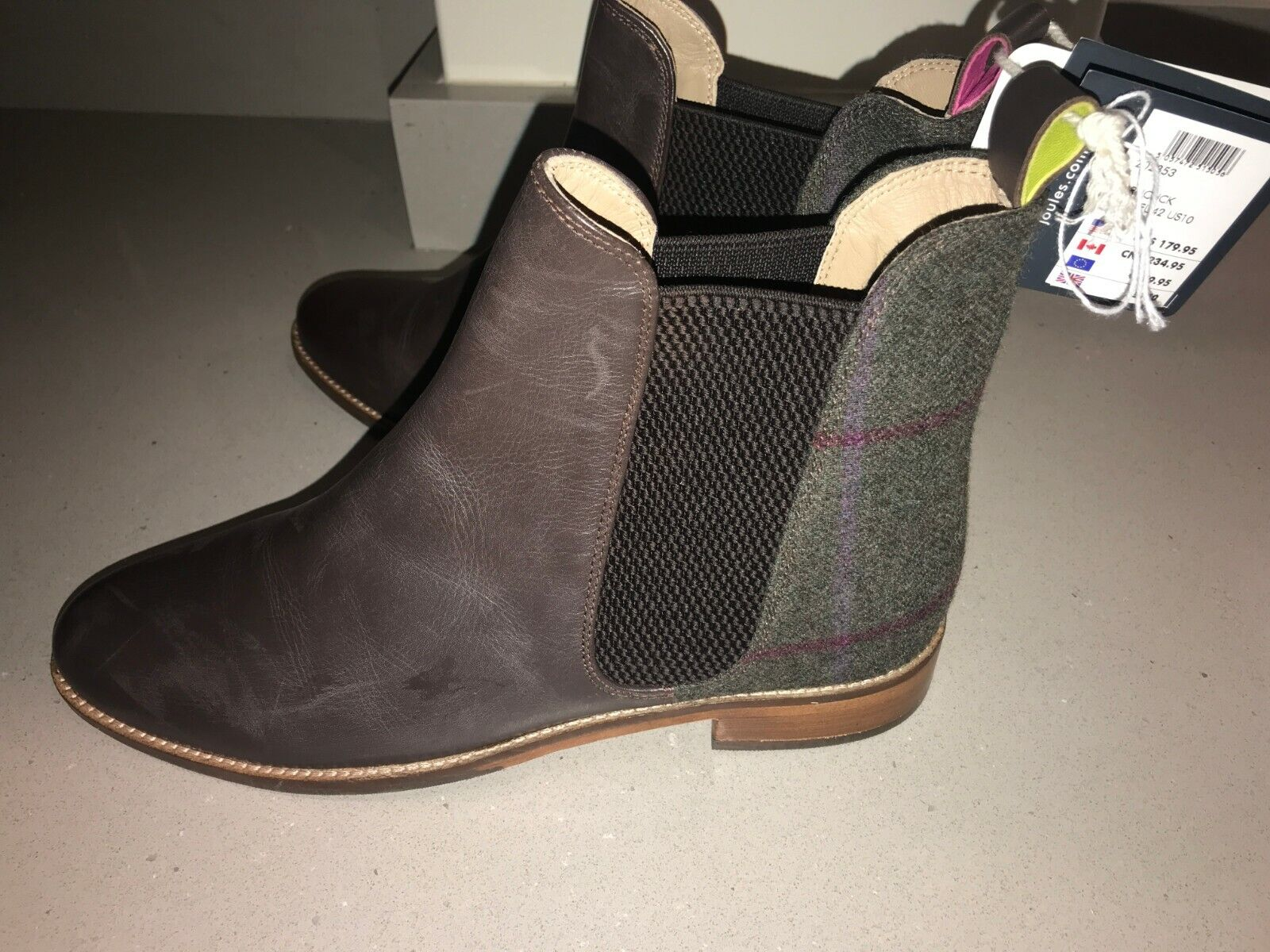 JOULES Chelsea Westbourne Leather   Tweed Stiefel Sz 5 6 RP FreeUKP&P