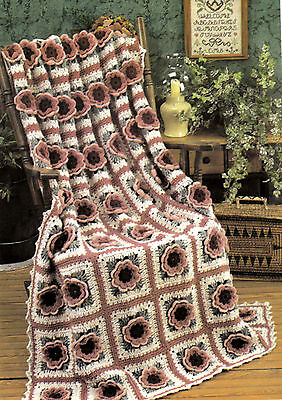 BEAUTIFUL Coral Rose Afghan/Crochet Pattern INSTRUCTIONS ONLY