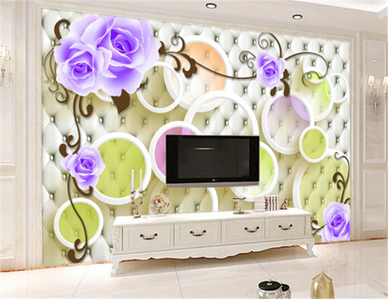 3D Circle lila Flower 994 Wallpaper Mural Paper Wall Print Wallpaper Murals UK