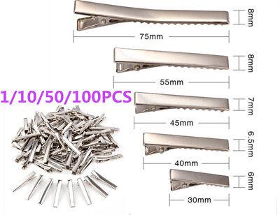10 50 100PCS Small Medium Lot Silver Crocodile Alligator Bow Blank Hair Clips UK