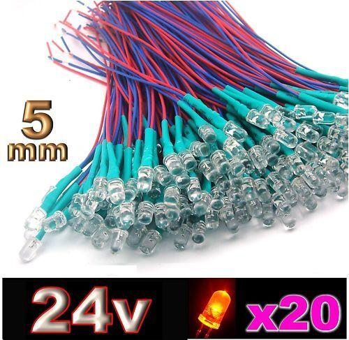 427//20# LED 5mm 24v pré-câblé orange 20pcs