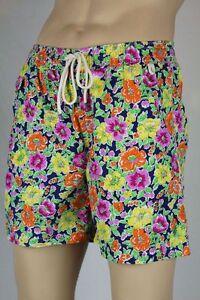 Ralph Lauren Orange Rosa Gelb Blumenmuster Badehose Grün Pony Tasche Nwt L