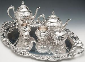 Renaissance-by-Reed-amp-Barton-Silverplated-5-pc-Tea-Set-with-Tray