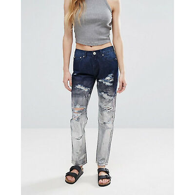 Womens Metallic Silver Boyfriend Jeans Holographic Ripped Distress Straight Leg