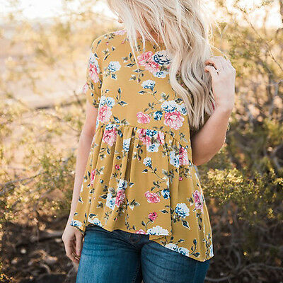 Summer Womens Short Sleeve T Shirt Floral Printed Blouse Casual Tops T Shirt