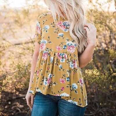 Summer Womens Short Sleeve T Shirt Floral Printed Blouse Casual Tops T Shirt