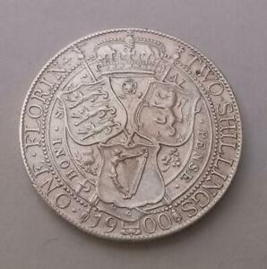 1900-Florin-Coin-Silver-Good-Extra-Fine-Queen-Victoria