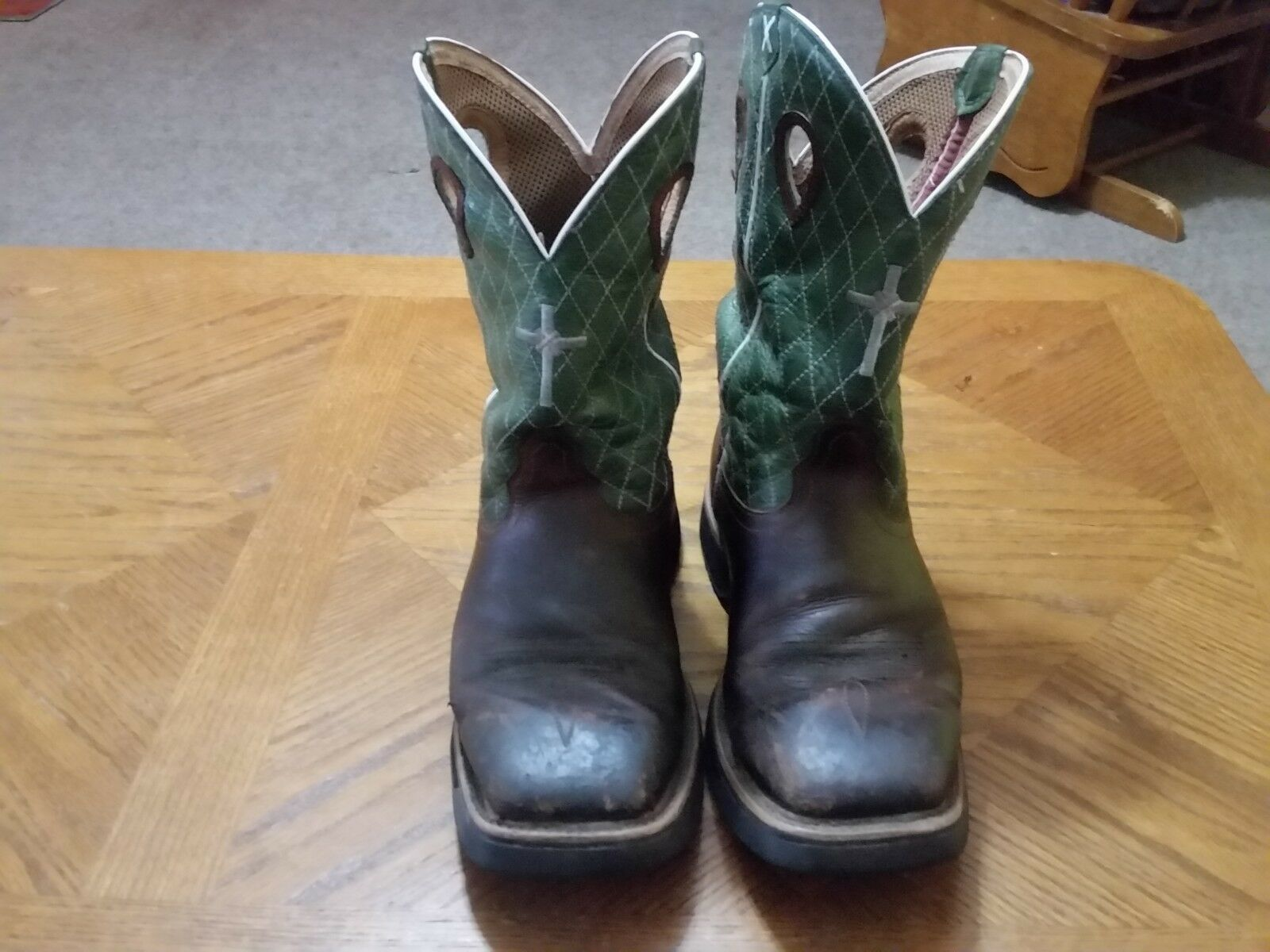 Men's Twisted X Lite Cowboy Work Square Toe Goodyear Tread Boots Size 9.5 EE