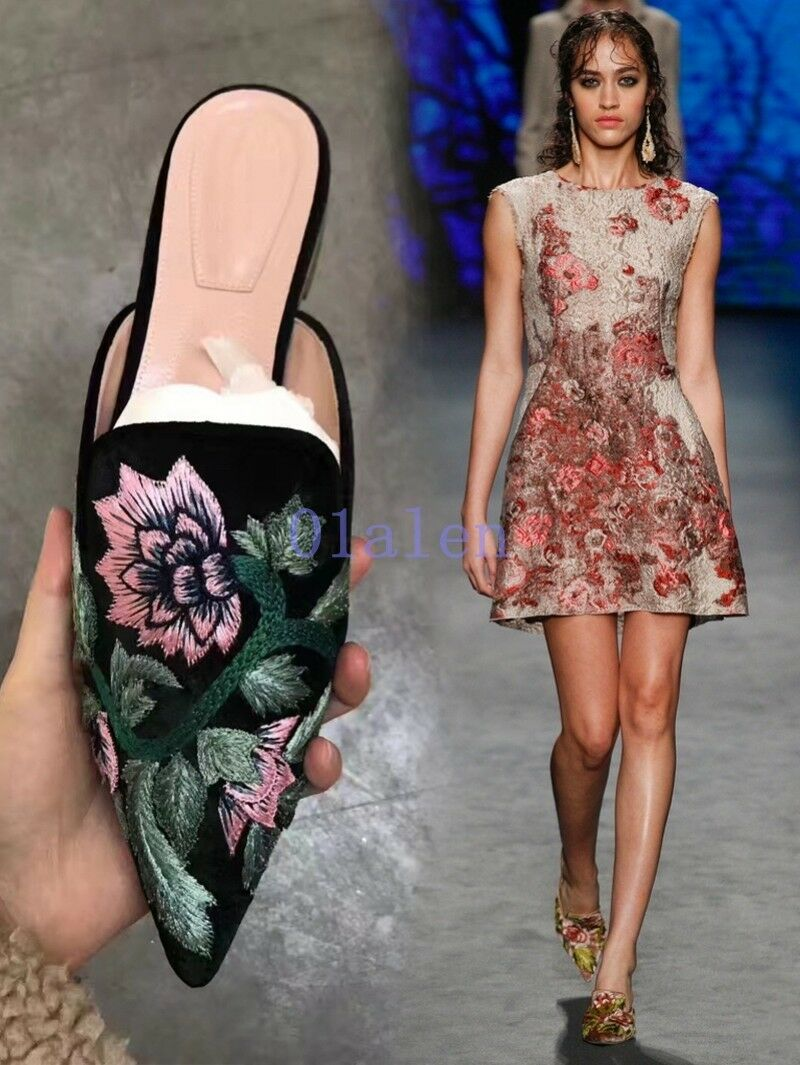 Pointy Toe Donna Fashion Summer Mules Retro Embroidery Flats 2018 Slipper 40
