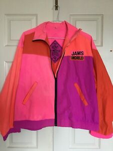 Vintage 90s Color Block Pastel Windbreaker by Top Speed in Size Medium with Pockets 100/% Nylon Slightly Opaque. Excellent Condition