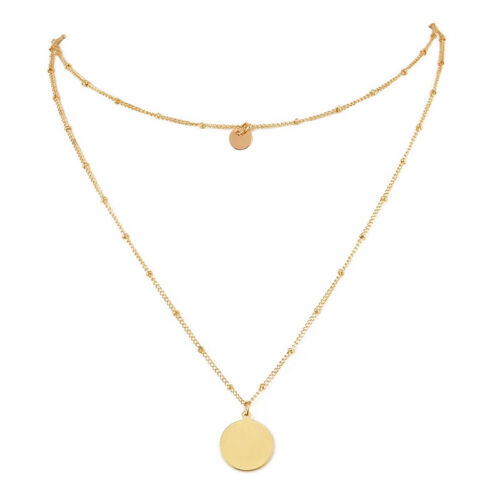 1pcs Women Multilayer Gold Silver Plated Chain Pendant Choker Necklace Jewelry