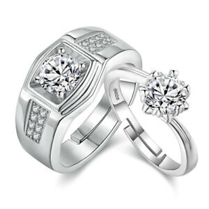 Platinum Plated CZ Adjustable Couple Finger Rings Jewelry ...