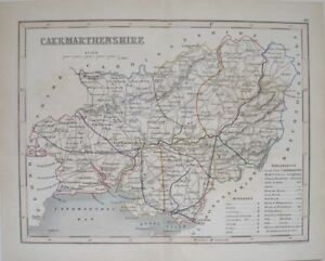 1835-CARMARTHENSHIRE-WALES-WELSH-COUNTY-MAP-ORIGINAL-ENGLISH-ANTIQUE-HAND-COLOUR