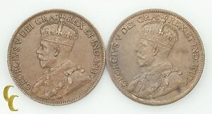 1914-amp-1917-Canada-One-Cent-1C-Lot-of-2-Coins-XF-BU-Condition-KM-21