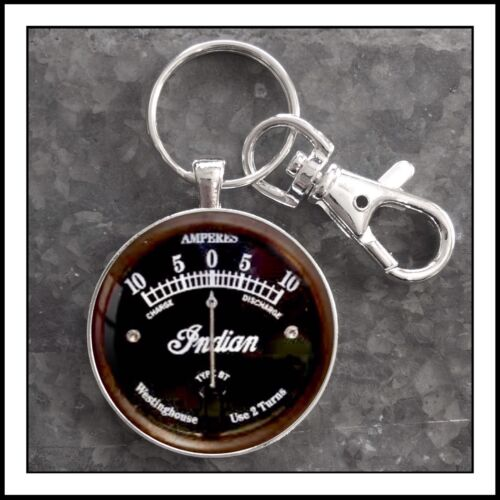 Vintage Indian Motorcycle Ammeter Photo Keychain