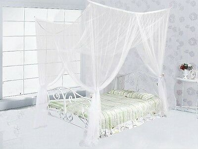 4 (Four) Corner Post Bed White Canopy Mosquito Net Full Queen King Size Netting