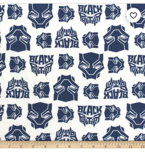 Marvel Heroes Black Panther Logo Heads Toss Blue Marvel Black Panther Fabric