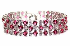 18k White Gold Plated Ruby And White Topaz 17.45ct Bracelet