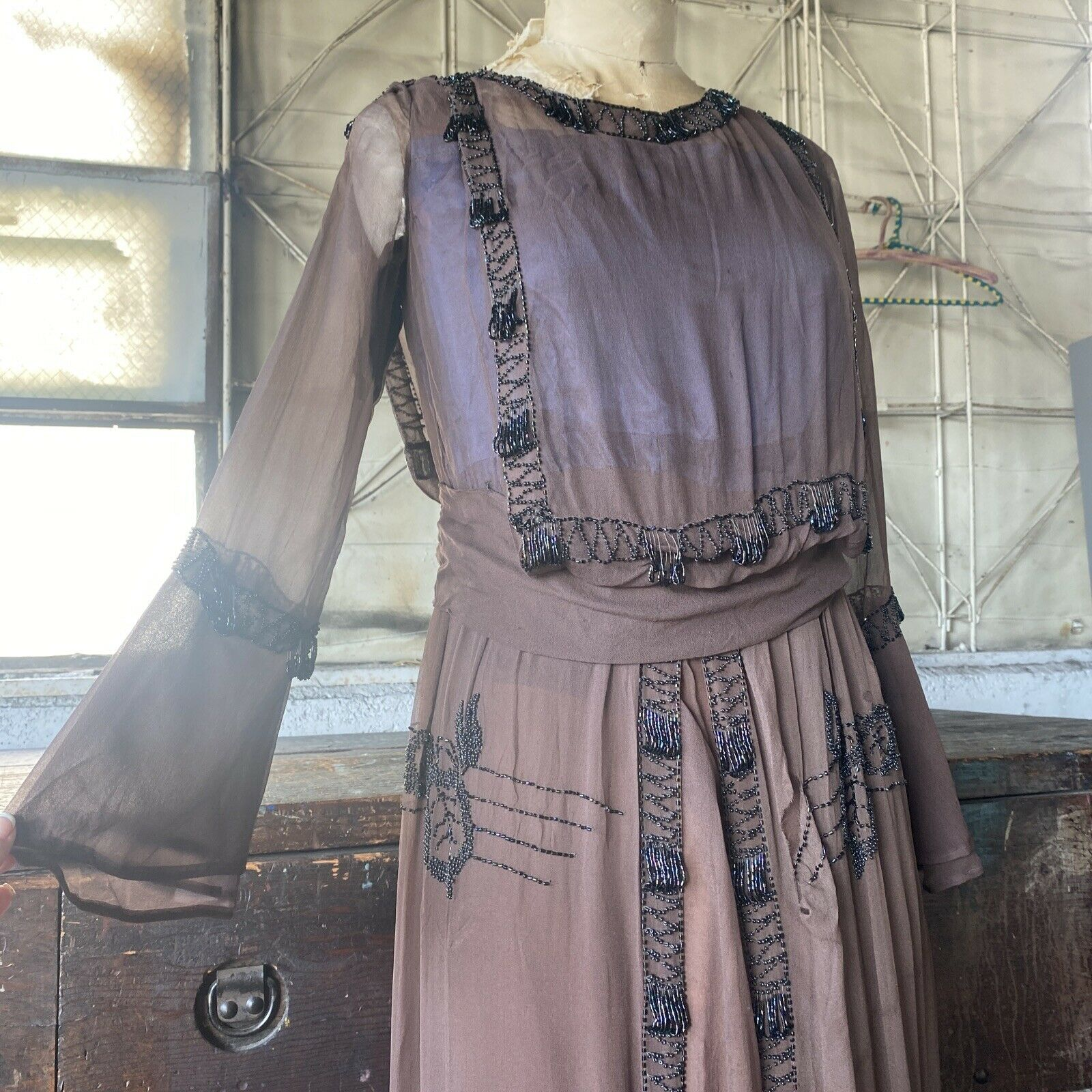 Antique 1910s Brown Silk Chiffon Tiered Beaded Dr… - image 3