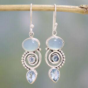 Wedding-Jewelry-925-Silver-Earrings-Women-Boho-Sea-Blue-Topaz-Dangle-Drop-Hook