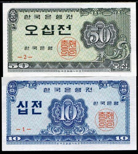 SOUTH KOREA SET 2 PCS 10 50 JEON 1962 P 28 29 UNC