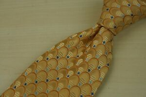 Ermenegildo-Zegna-Sunflower-Yellow-Fish-Scale-Blue-Square-100-Silk-Tie