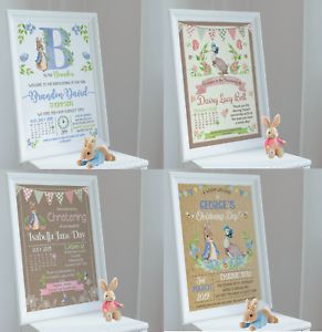 Personalised Peter Rabbit Print Christening • Naming Day • Baptism A4 A3