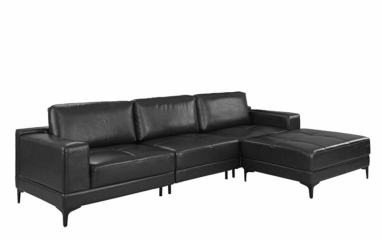 Pleasant Modern Leather Sectional Sofa 114 9 Inch Living Room L Shape Couch Black Inzonedesignstudio Interior Chair Design Inzonedesignstudiocom