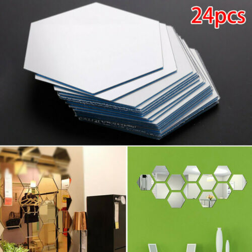 Glass Mirror Tiles Wall Stickers Square Self Adhesive Decors Stick On Protable