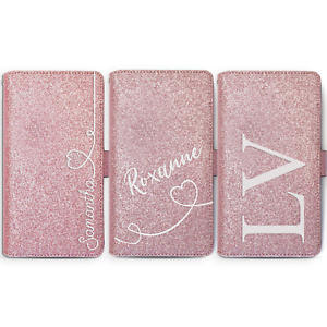 PERSONALISED-INITIAL-LEATHER-PHONE-CASE-PINK-GLITTER-COVER-FOR-APPLE-IPHONE-XS