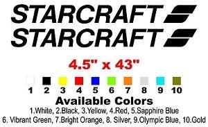 "BLACK DECAL PAIR 2 STARCRAFT 42/"" x 2 1//2/"" GREEN WHITE MARINE BOAT"