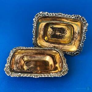 PAIR-GEORGE-III-OLD-SHEFFIELD-PLATE-SALT-CELLARS-c1815-Gilt-Bowls