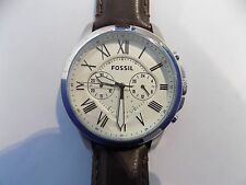Fossil Men's FS4735 'Grant' Chronograph Brown Leather Watch. NEVER WORN