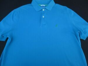 Nautica-Mens-Pullover-Knit-Short-Sleeve-Cotton-Blue-Logo-Polo-Shirt-Medium-M