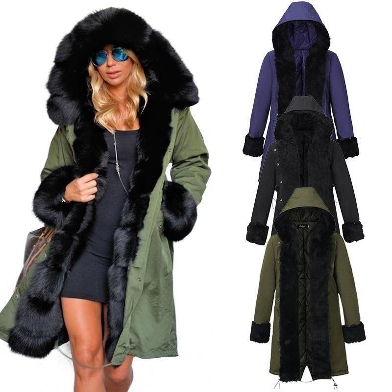 Wrap Winter gabardine Fur Warm Winter Faux Fur Hooded Parka Coat Overcoat